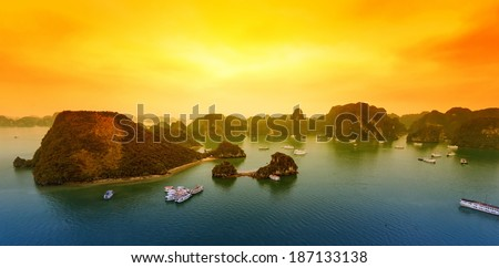 Vietnam Halong Bay beautiful sunset landscape background - stock photo