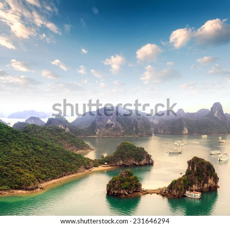 Vietnam - Halong Bay panoramic view  - stock photo