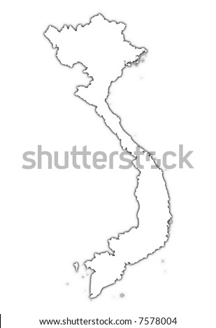 Vietnam outline map with shadow. Detailed, Mercator projection. - stock photo