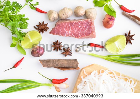 vietnam pho noodle soup ingredients. Food background