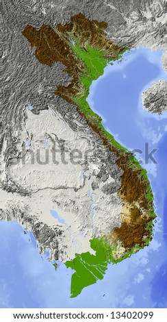 Vietnam. Shaded relief map. Surrounding territory greyed out. Colored according to elevation. Includes clip path for the state area.