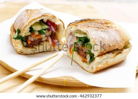 Vietnam style french baguette bread pork bun Banh Mi