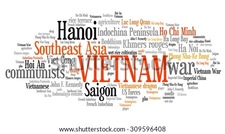 Vietnam tag cloud illustration. Asia country word collage. - stock photo
