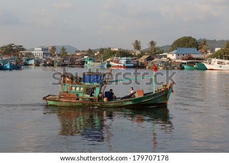 VIETNAM - 02.02.2014: The boat comes to the sea port of Phu Quoc, Vietnam