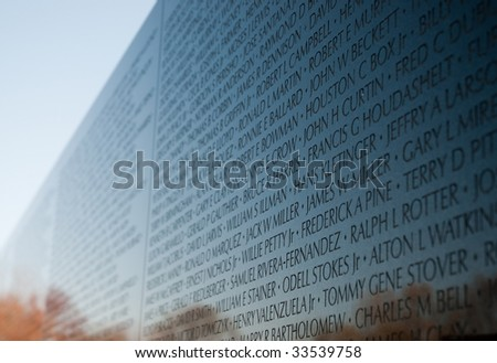 Vietnam Veterans Memorial and reflection - stock photo