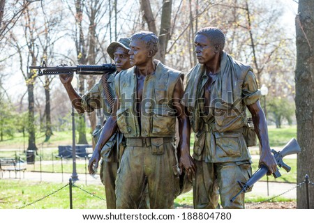 Vietnam Veterans Memorial Statue, Washington DC, USA - stock photo