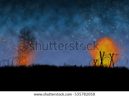Vietnam war image, silhouette of a  battlefield with explosions. Original illustration.
