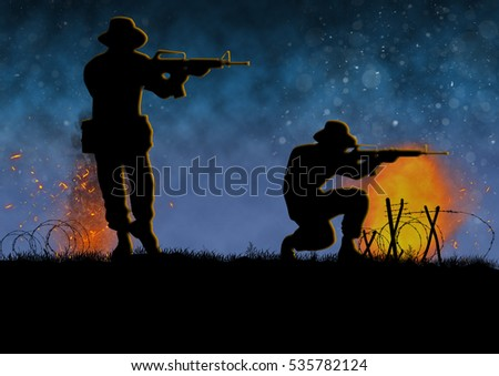 Vietnam war image with US soldier silhouette on a  battlefield. Original illustration.