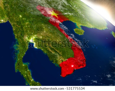 Vietnam with embedded flag on planet surface during sunrise. 3D illustration with highly detailed realistic planet surface and visible city lights. Elements of this image furnished by NASA.