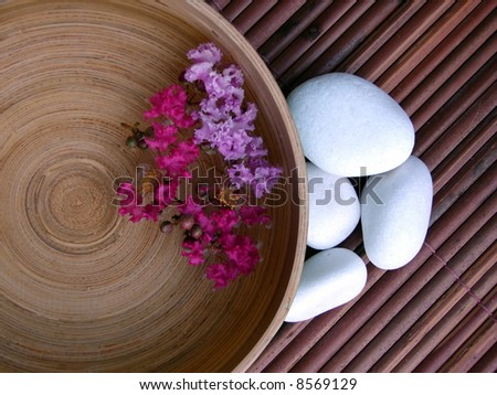 Vietnamese bamboo lacquer bowl for Foot Spa treatment - stock photo