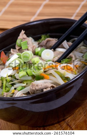 Vietnamese beef Pho soup bowl - stock photo