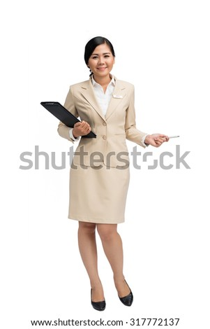 Vietnamese business lady holding a presentation, isolated on white