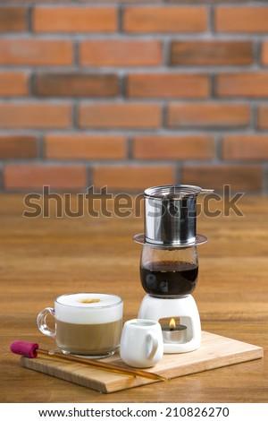 vietnamese coffee at nice restaurant - stock photo