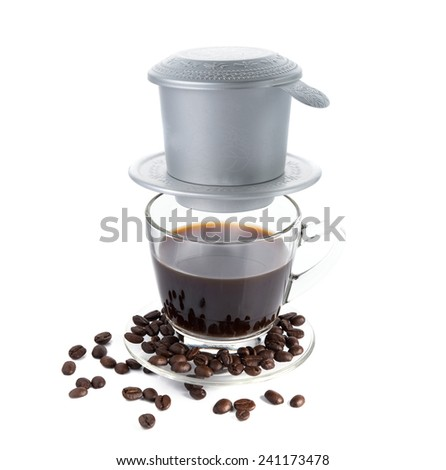 Vietnamese coffee brewing - stock photo