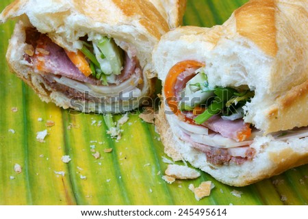 Vietnamese food, banh mi thit nguoi- is famous, popular Vietnam dish, bread fiiled with slice pork, pate, Vietnamese sausage and vegetable as: carrot, daikon, scallion. it also name banh mi Saigon - stock photo