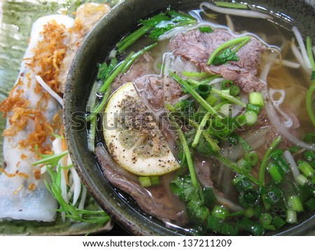 Vietnamese food, beef and rice noodle Pho Bo