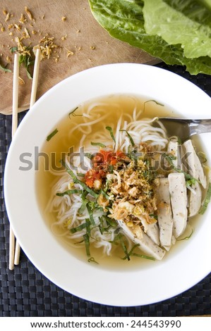 vietnamese food pho noodle in white bowl - stock photo