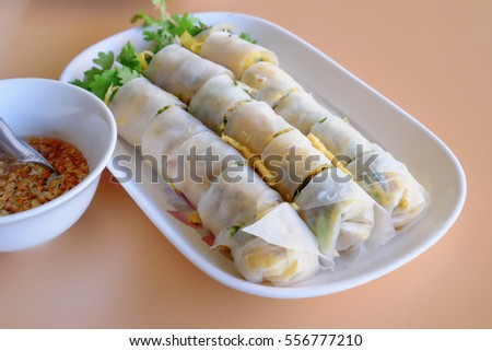 Vietnamese food, rice roll with vegetable filling