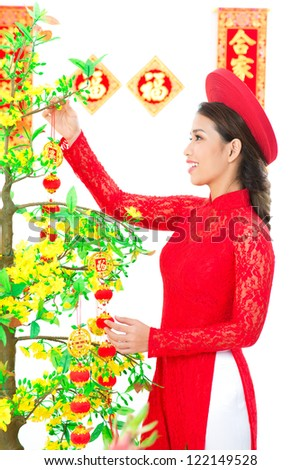 Vietnamese girl decorating apricot tree for traditional spring festival - stock photo