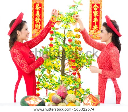 Vietnamese girl decorating Vietnamese New Year Tree �¢?? Hoa Mai against a white background - stock photo