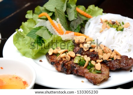 Vietnamese Grilled Pork with Noodles - stock photo