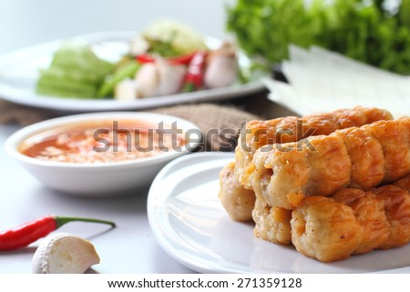Vietnamese meatball wraps with vegetables (Nam-Neaung) - stock photo