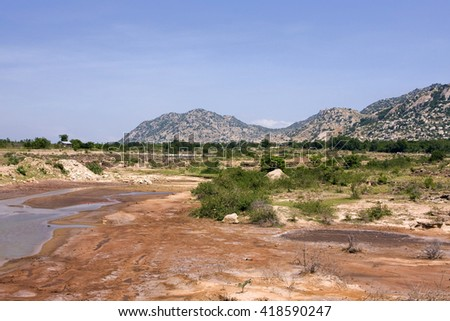 Vietnamese mountain scenery, Ninh Thuan region, Vietnam, Southeast Asia, Asia