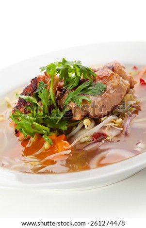 Vietnamese Noodle Soup with Beef and Vegetables - stock photo