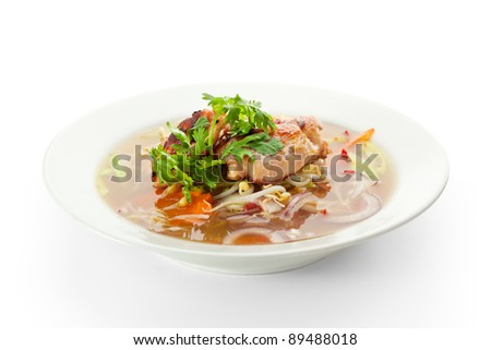 Vietnamese Noodle Soup with Beef and Vegetables