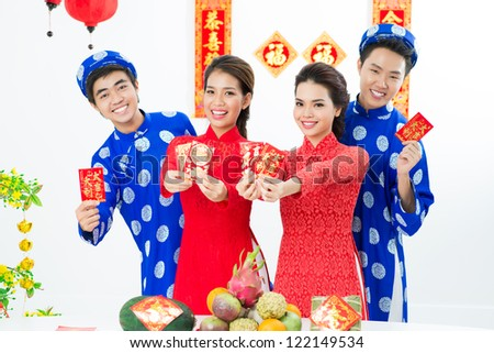 Vietnamese people congratulating with their New Year - stock photo