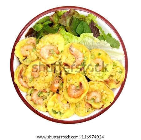 Vietnamese rice pancake with shrimp on dish - stock photo