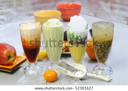 Vietnamese smoothies and ice tea - stock photo