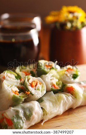 Vietnamese spring roll with Vietnamese coffee