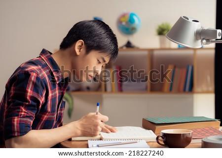 Vietnamese teenager doing homework, side view - stock photo