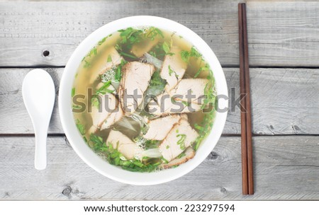 Vietnamese vermicelli pork soup - Mien heo - Tet traditional meal - stock photo