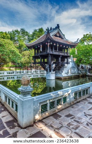 Vietnamse landmark - One Pillar Pagoda, Hanoi, Vietnam. High dynamic range image - stock photo