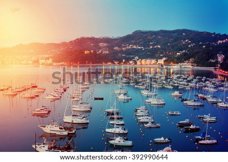 View above harbor with yachts. Lerici, Liguria, Italy. - stock photo