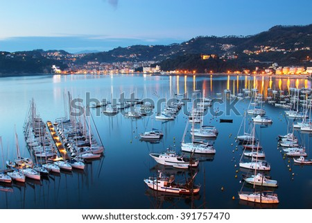 View above many sea yachts in the night in Lerici, Liguria, Italy. - stock photo