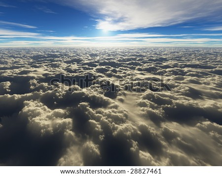 view above the clouds (3D render)