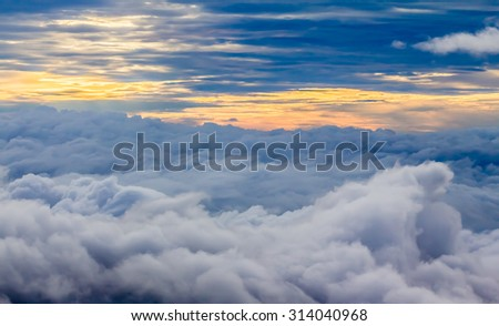 View Above the Clouds, Sunset Cloudscape - stock photo