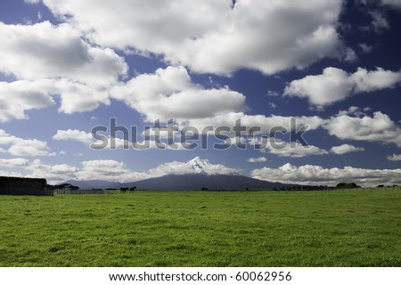View across a field to a volcano in the distance.
