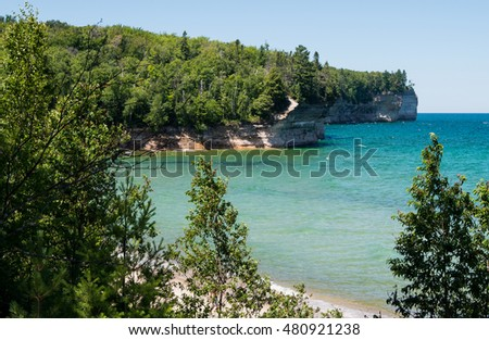 View across Chapel Beach and along the Lake Superior coast at Pictured Rocks National Lake Shore