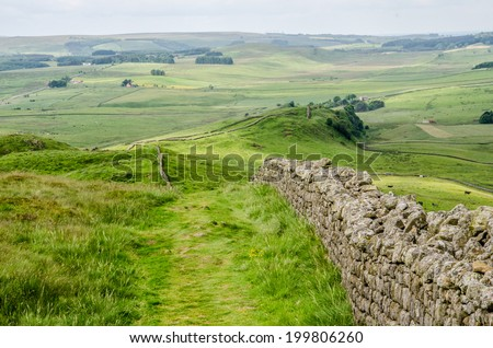 View across Hadrian's Wall, Northumberland, Great Britain