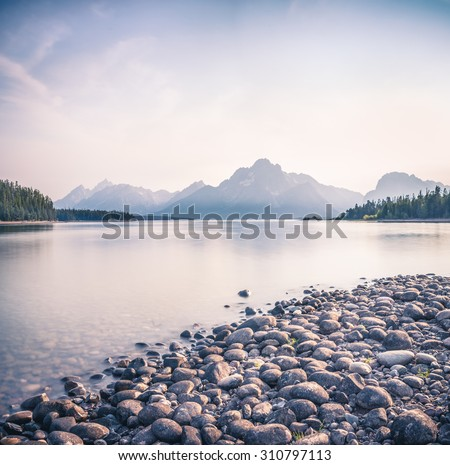 View across Jackson Lake of the Grand Tetons near Moran,  USA., wyoming