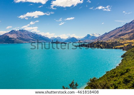 View across Lake Wakatipu, Glenorchy, New Zealand