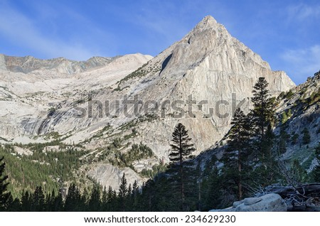 view across LeConte Canyon in Kings Canyon National Park in California towards Langille Peak - stock photo