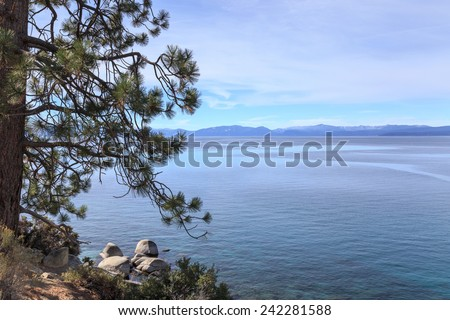View across majestic Lake Tahoe from its shores near Incline Village, NV, USA. - stock photo