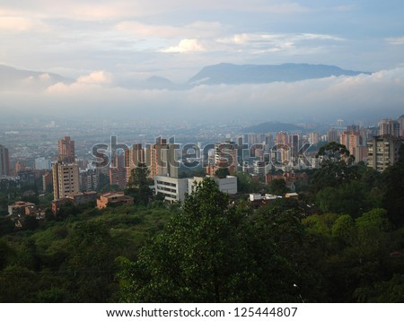 View across Medellin from El Tesoro Shopping Centre, Colombia.