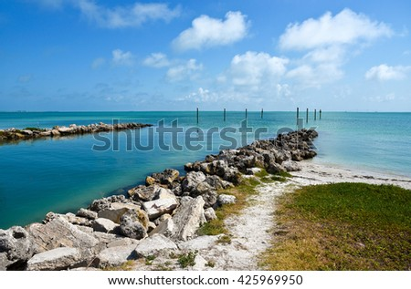 View across Tampa Bay from Anna Maria Island, Florida - stock photo