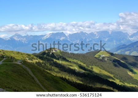 View across the Austrian Alps